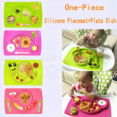 New One-Piece Silicone Placemat+Plate Dish Food Table Mat Gift for Baby Kids