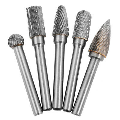 "1/4"" Tungsten Carbide Cutter Rotary Burr 5pcs Set CNC Engraving Bit 10mm BI224"