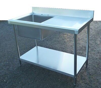 Commercial Catering Kitchen Stainless Steel Sink Unit 1000mm RHD 1Metre