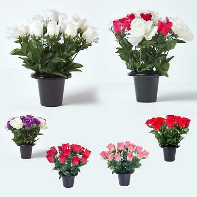 Artificial Grave Flowers Rosebuds and Gypsophila Mix in Grave Vase Indoor/Office