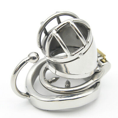 Stainless Steel Male Chastity small Cage with Base Arc Ring Devices C271-1