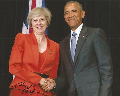 Hand Signed 8x10 THERESA MAY British PRIME MINISTER Barack Obama Thatcher my COA