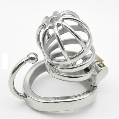Stainless Steel Male Chastity small Cage with Base Arc Ring Devices C275