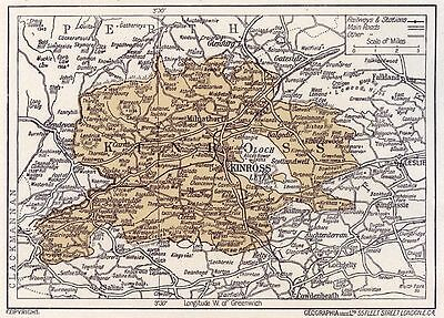 1923 map of Scotland: Kinross, ready-mounted antique print SUPERB
