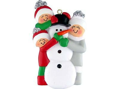 Family Building A Snowman (3) Ornament - Personalized Free!