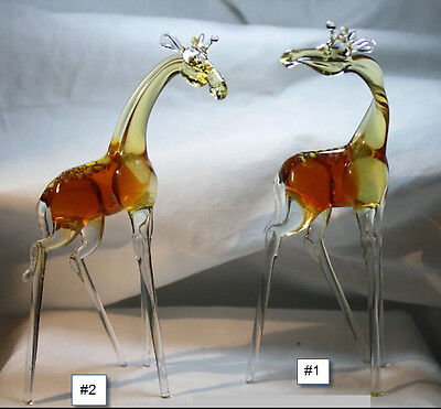 Art Blown Glass Murano Figurine Glass Giraffes Figurine