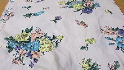 """Vintage Cream Pastel Floral Polyester 2 Way Stretch Fabric 49"""" W PRICE PER YARD"""