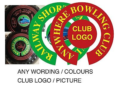 PERSONALISED BOWLS STICKERS ANY WORDING/PHOTO 1 inch LAWN FLATGREEN, INDOOR BOWL