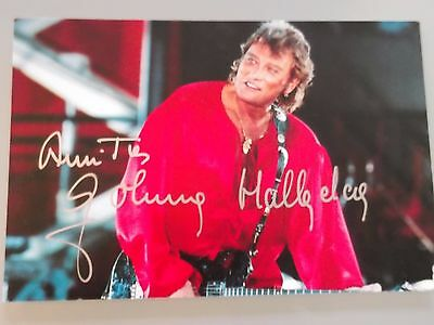 Photo-Carte-Postale de JOHNNY HALLYDAY Signée au feutre argent