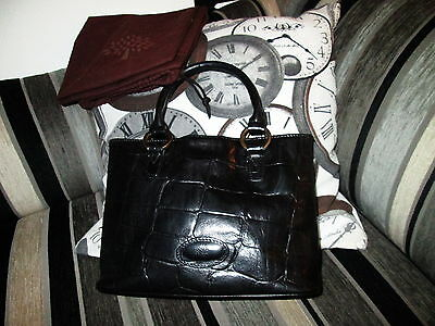 Authentic Vintage Small Mulberry Black Congo Leather Hand Grab Bag & Dustbag