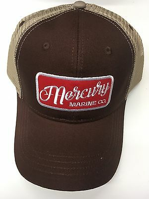 NEW Mercury Marine Supply Hat, Brown with Red Mercury Logo and Light Brown Mesh