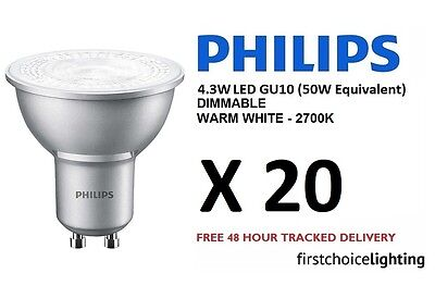 20 x Philips Master 4.3W (50W) DIMMABLE GU10 LED Spot Lamps Bulbs Warm White