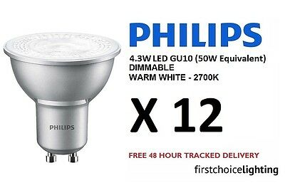 12 x Philips Master 4.3W (50W) DIMMABLE GU10 LED Spot Lamps Bulbs Warm White