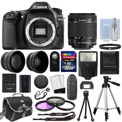 Canon EOS 80D Digital SLR Camera + 3 Lens: 18-55mm IS STM Lens + 32GB Bundle