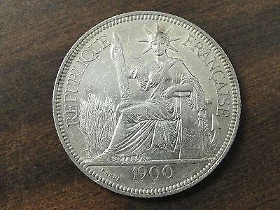 1900 French Indo China 1 Piastre Silver Trade Dollar Km #5.1 * Looks AU *