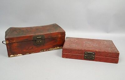Antique 19c Chinese Lot 2 Red Lacquer Boxes Floral Design