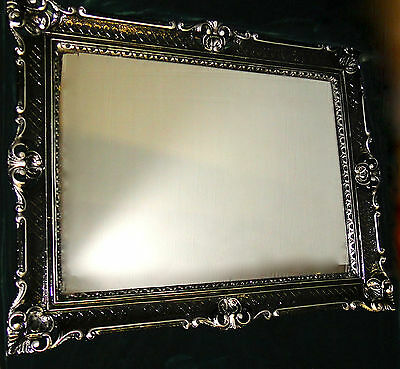 Espejo de pared Barroca Rectangular Antiguo DECORACIÓN negro-plata 90x70cm