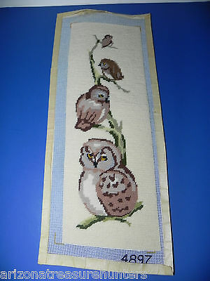 Completed Owl Family Needlepoint