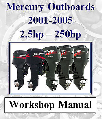 MERCURY OUTBOARD 2001 - 2005 2.5hp - 250hp WORKSHOP SERVICE REPAIR MANUAL ON CD
