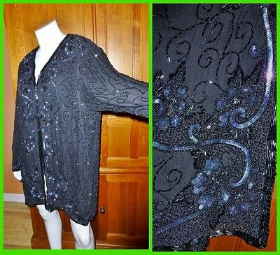 Vtg 80s DECO 100% Silk Sequin Beads Embroidery Evening Formanl dress JACKET 1X