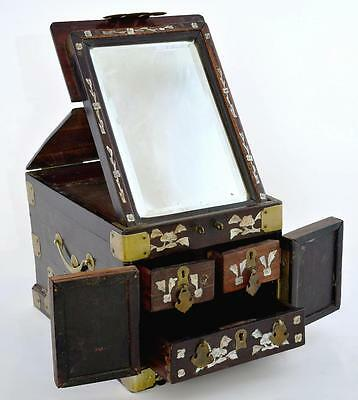 Early 20C Chinese Hardwood Wood Mother Pearl MOP Inlay Mirror Vanity Chest Box