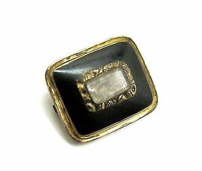 Antique Early 19c Gold GF Enamel Hair Mourning Jewelry Brooch