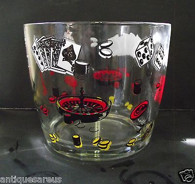 Vintage Ice Bucket Las Vegas Style Roulette Cards Dice Red White And Black