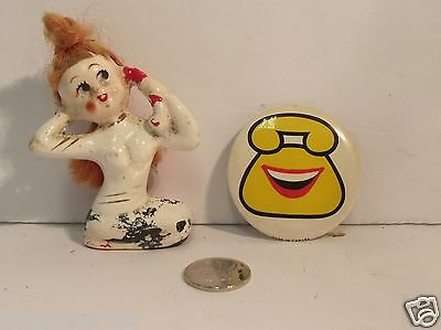 Mermaid W Red Hair  On Phone &  And Yellow Page With Smiley Face Pin Button
