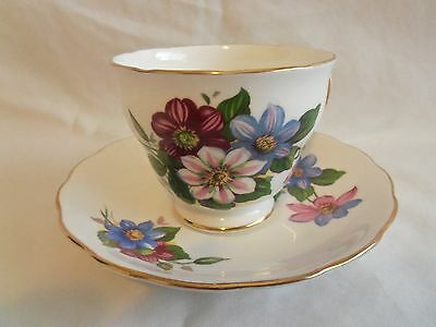 Vintage Royal Vale Clematis Tea Cup and Saucer made in England