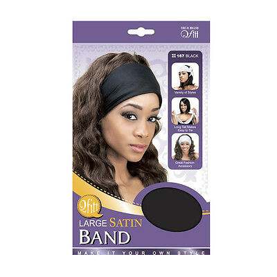Qfitt Large Satin Band Long Tail Easy Tie Fashion Hair Wig Caps Style #167 Black