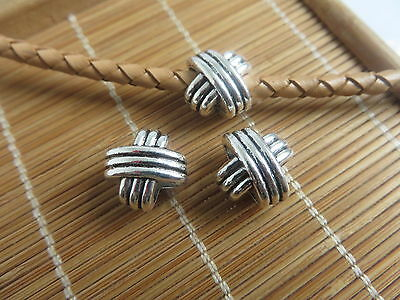 5/10pcs X Shaped Bead Slider Spacer Fit 4mm Round Leather Cord Jewelry Findings