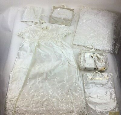 Vintage Baby Infant Christening Dress Baby Girls Baptism Gown Ivory 0-6 Mos