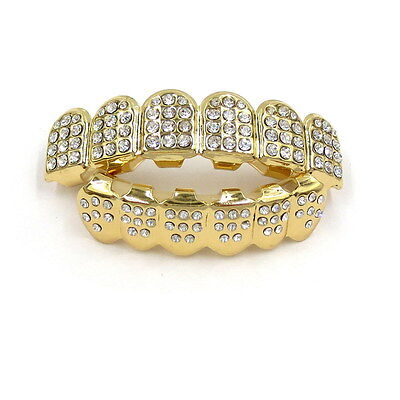 Unisex Women Men Gold Plated Teeth Grillz Top Bottom Tooth Caps Hip Hop Bling
