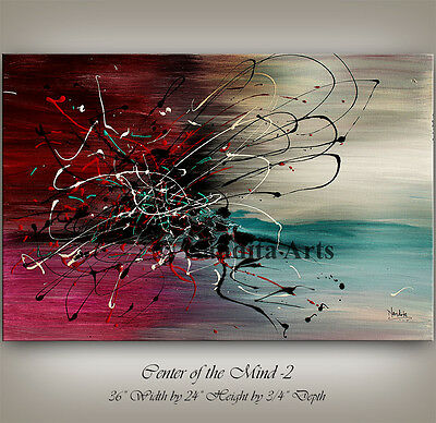Turquoise PAINTING Red modern art on canvas art artwork office decor wall art