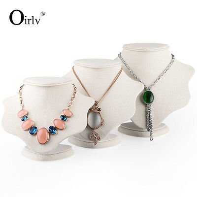 Oirlv Beige Linen Necklace Bust Jewelry Necklace Display Holder Mannequin Stand