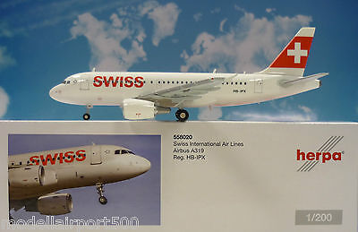 Herpa Wings 1:200 Airbus A319  Swiss HB-IPX  558020