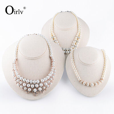 Oirlv Beige Linen Necklace Bust Jewelry Display Holder Egg Shape Mannequin Stand