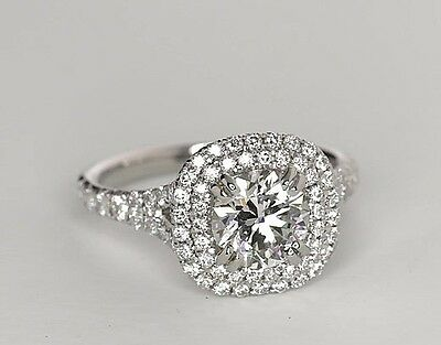 1.24 Carat Round Cut 14k White gold Double Halo Engagement Ring