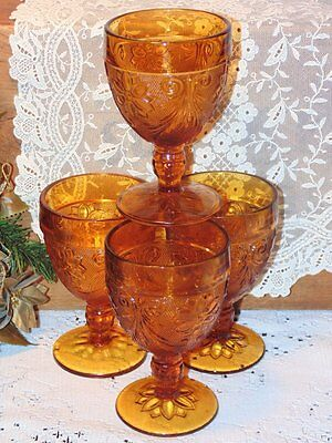4 Vintage AMBER TIARA FOOTED Water Glass Goblets Glasses