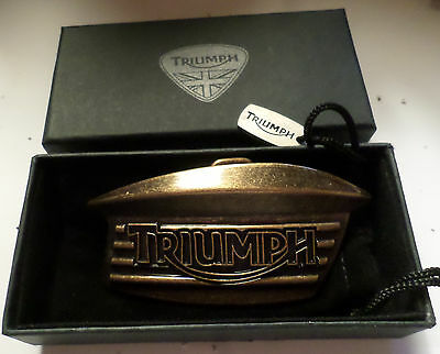 Vintage Triumph tank emblem belt buckle British motorcycle biker collectible