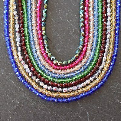 Czech Fire Polished Faceted Round Beads *4Mm, 6Mm & 8Mm *various Colours