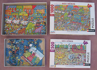 Lot  2 Puzzles Nathan / Charlie  1000 Pieces + 500 Pieces