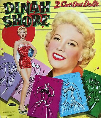 Original Movie, TV and Singing Star DINAH SHORE Paper Dolls, 1956, Partially Cut