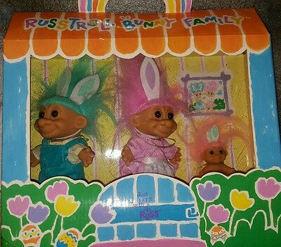 Russ Troll easter bunny Family set of 3 / lot box baby