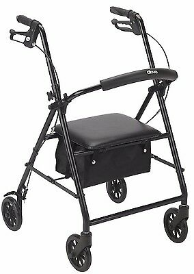 "Black 4 Wheel Rollator Walker with Seat and 6"" Wheels R800BK Drive Medical"