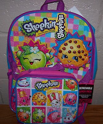 Girls School Backpack Shopkins with Detachable Lunch Pack