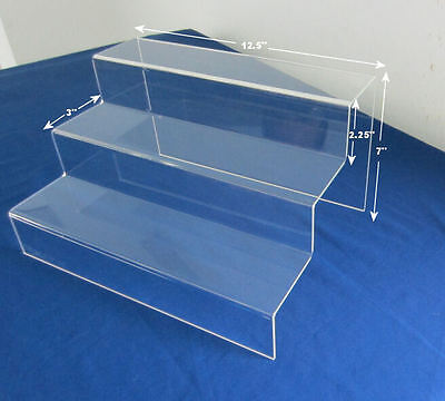 "3 Step Stairway Display Riser 7""h x 12.5""w x 9""d 1/8"" High Clarity Acrylic"