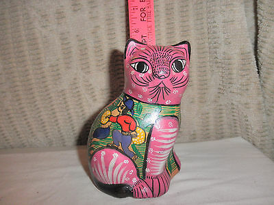 Vintage Mexican pottery clay cat  storytelling hand painted harvest scene