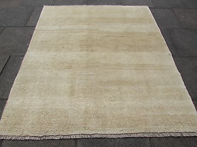 Old Traditional Hand Made Persian Oriental Gabbeh Rug Wool Ivery Cream 210x180cm