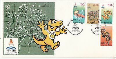 Indonesia FDC 1993 PON games XIII Sports/ cycling/ Swimming/ Running/ Athletics